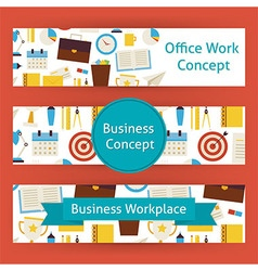 Office Work Concept Template Banners Set in Modern vector