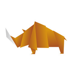 origami rhinoceros rhinoceros painted in low-poly vector image