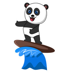 panda surfing on white background vector image