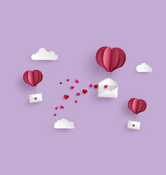 Paper hot air balloon heart shape hang envelope vector