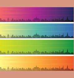 phnom penh multiple color gradient skyline banner vector image