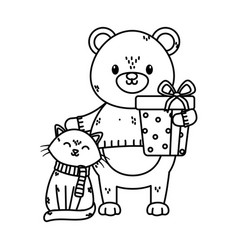 polar bear and cat with wrapped gift celebration vector image