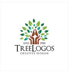 prayer hand tree logo design vector image