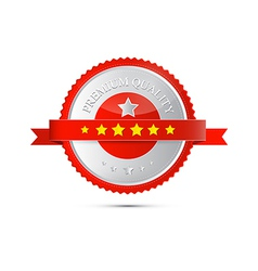 Premium Quality Red and Silver Label Tag vector