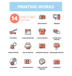 Printing works - line design icons set vector