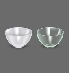 Realistic detailed 3d glass and ceramic bowl vector
