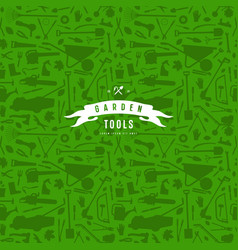 seamless pattern and emblem for garden tools store vector image