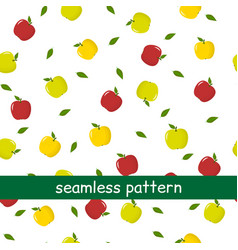 seamless pattern of green and red apples and vector image