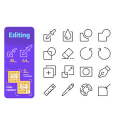 set editing simple lines icons painting tools vector image