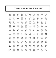 set medical icons with outline style design vector image