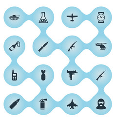 Set of 16 simple battle icons can be found vector