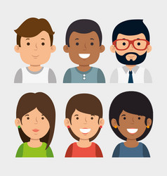 set of young business people vector image