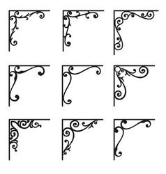 Set ornamental corners in vintage style vector