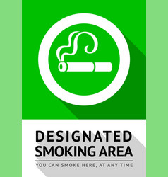 Smoking area poster vector