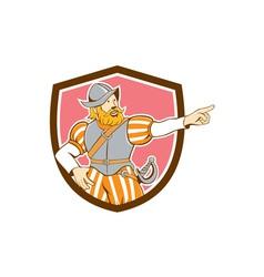 Spanish conquistador pointing cartoon shield vector