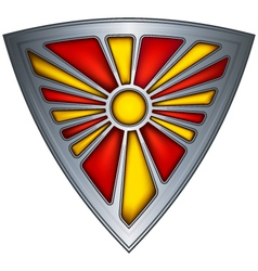 steel shield with flag republic of macedonia vector image vector image