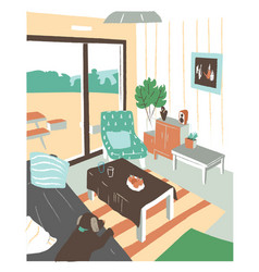 Stylish interior of living room or salon full of vector