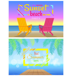 sunset on beach party hot summer days two chaise vector image
