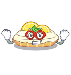 Super hero cartoon lemon cake with lemon slice vector
