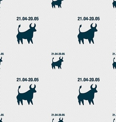 Taurus sign Seamless pattern with geometric vector image