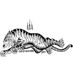 thai traditional tattoo tiger vector image