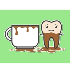 Tooth and cup of coffee vector image