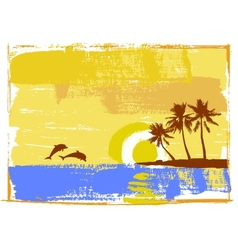 Tropical day palm trees vector image