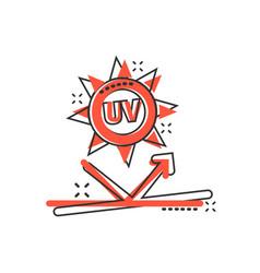 Uv radiation icon in comic style ultraviolet vector