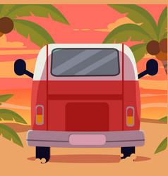 Van on beach with sunset in summer theme vector