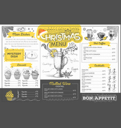 Vintage holiday christmas menu design vector
