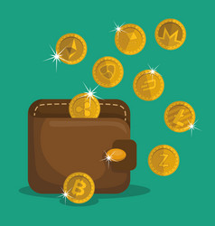 Wallet with virtual coins vector