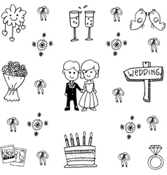 Wedding set party doodle vector image