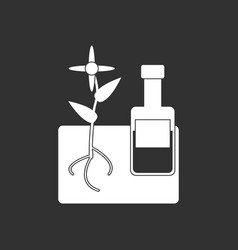 White icon on black background plant with bottle vector