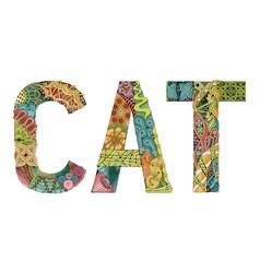 Word cat decorative zentangle object word cat vector