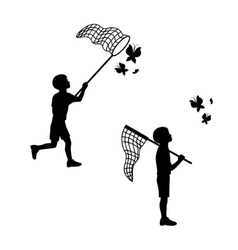 A child plays with a butterfly net vector image