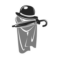 gentleman black hat with umbrella and grey cape vector image