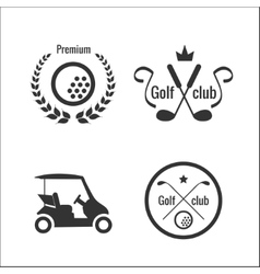 Golf icons and labels vector image vector image