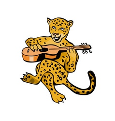 Jaguar Playing Guitar Cartoon vector image vector image