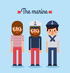 marine people captain sailor worker character vector image