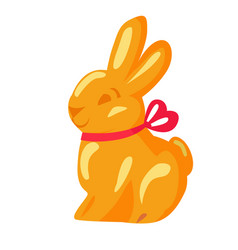 orange chocolate bunny with pink ribbon drawn icon vector image vector image