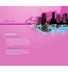 Pink background with city and place for your text vector image vector image