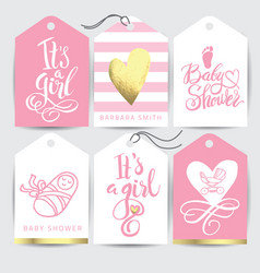 pink sticker set it s a girl calligraphy vector image vector image