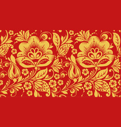 red and gold hohloma seamless pattern texture vector image