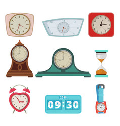 set of different clocks and hand watches isolate vector image vector image