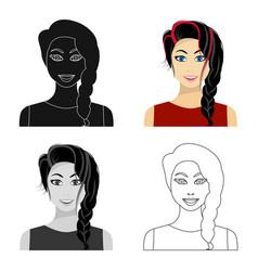 Black hair woman icon in cartoon style isolated on vector