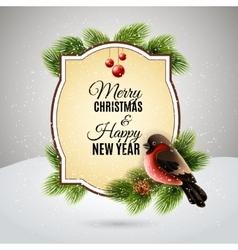 Christmas greetings card with robin bullfinch vector image