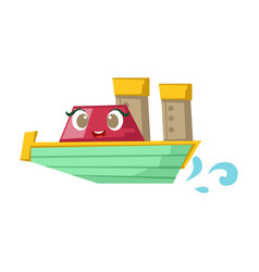 green and red cruise liner boat cute girly toy vector image