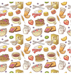 hand drawn breakfast seamless pattern with bakery vector image vector image