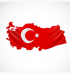 hanging turkey flag in form of map republic of vector image