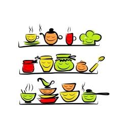 Kitchen utensils characters on shelves sketch vector image